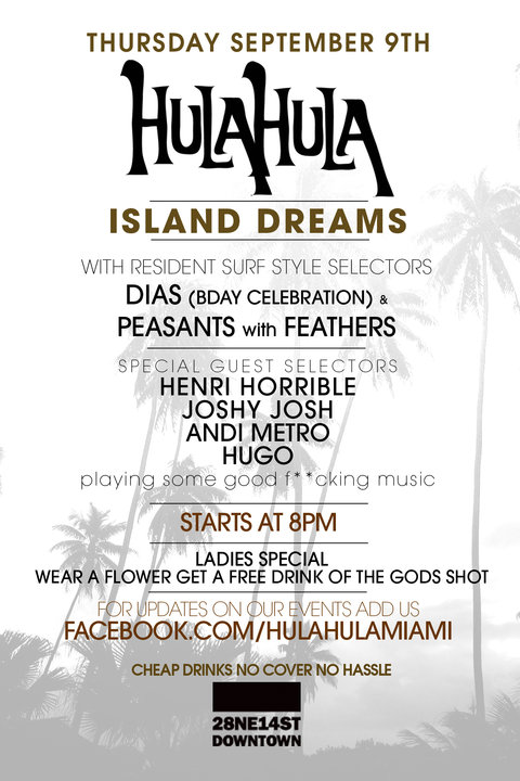 Hula Hula V Island Dreams at BAR Sept 9